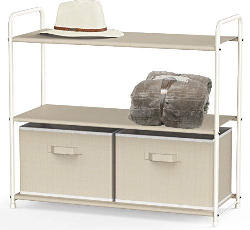Simple Houseware 3Tier Closet Storage with 2 Drawers Beige
