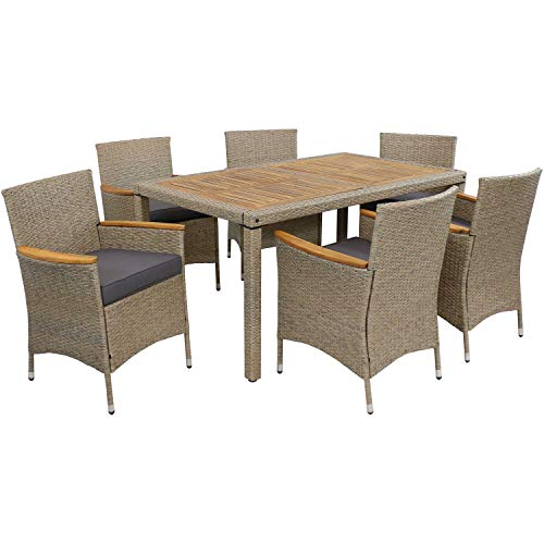 Sunnydaze Foxford Outdoor Dining Set - 7-Piece Rattan and Acacia Outside Patio Furniture - 1 Table and 6 Chairs with 6 Thick Seat Cushions - Backyard Garden Seating