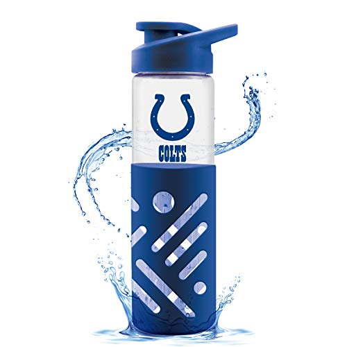 Duck House NFL Indianapolis Colts Glass Water Bottle with Carrying Handle   Premium Glassware   Silicon Protector Sleeve   Flip Top Lid   BPA-Free   23oz