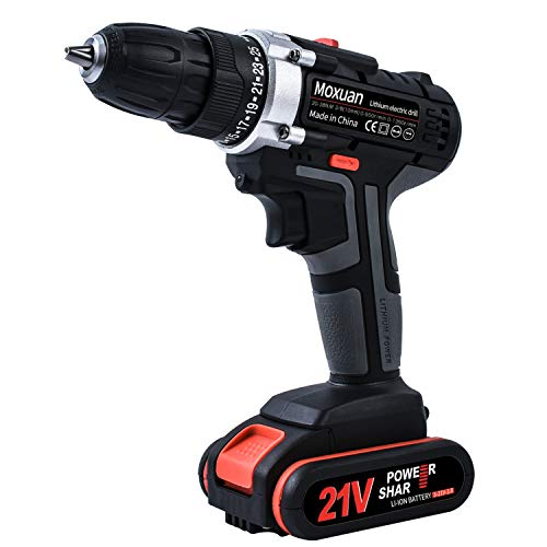 """Cordless Drill Driver, Cordless Drill with 2 Batteries, 30Min Fast Charger 4.0A, 25+1 Torque Setting, 2-Variable Speed Max Torque 550 In-lbs, 3/8"""" Metal Keyless Chuck, 25 pcs Bits Included"""