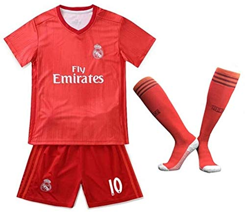 LLM Soccer Suit Real Madrid Club De Football Luka Modric 10# Kid's Fan Football Jersey Set Red (Color : Red, Size : 26)