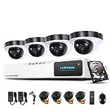 1080P Überwachungskamera System H.View 4CH AHD DVR und 4 Außen 1080P Dome Überwachungskamera Set für Innen und Außen 1TB Festplatte Bewegungsmelder IR Nachtsicht