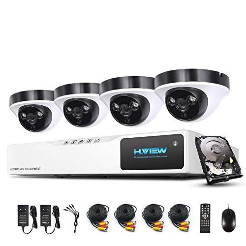 H.View 1080P Bewakingscamera, 4-kanaals AHD DVR en 4 buiten, 1080P dome-bewakingscamera, set voor binnen en buiten, 1 TB, harddisk bewegingsmelder, infrarood nachtzicht