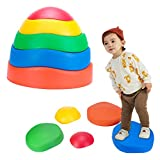 Kids Balance Stepping Stones 5 Balance Stones for Children Lndoor and Outdoor Toys Help to Enhance Coordination and Strength Rubber Edges 5 Colors