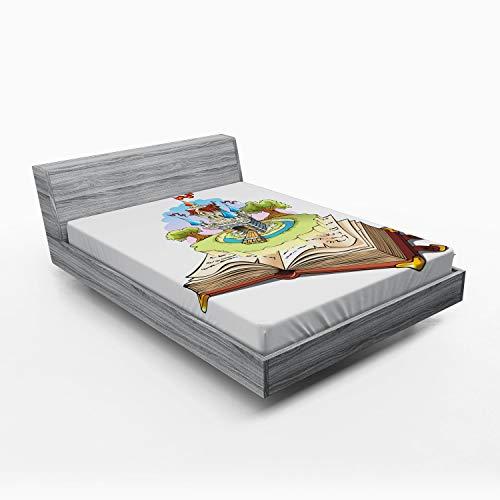 ABAKUHAUS Er was eens Hoeslaken, Fantasy Book World, Zachte Decoratieve Stof Beddengoed, Elastische Band Rondom, 150x 190 cm, Veelkleurig