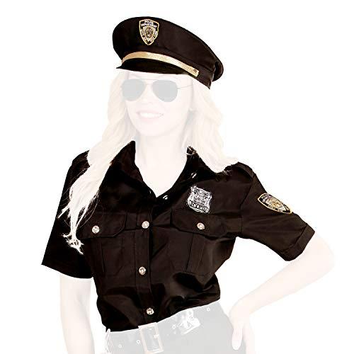 com-four® Polizei Kostüm Set mit schwarzer Bluse und Mütze für Fasching, Karneval, Halloween, Motto-Partys, Junggesellenabschied, Kostümveranstaltungen (Polizistin Kostüm Gr. M/L)