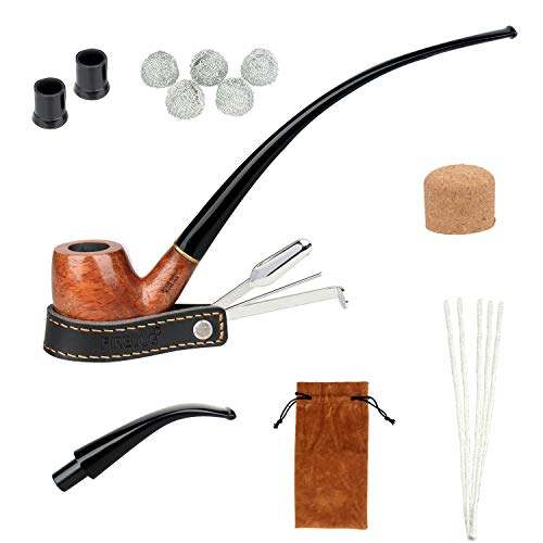FIREDOG Tobacco Pipe Kit, Smoking 2-in-1 Churchwarden Pipe with Pipe Cleaners, Pipe Scraper Holder, Pipe Bits, Metal Balls, Cork Knockers