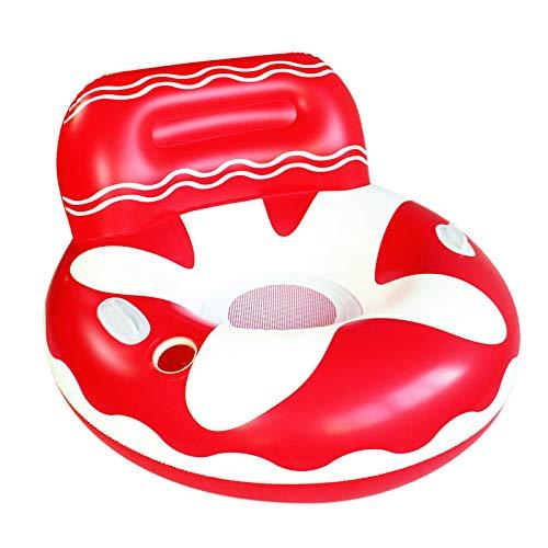 IHZ Sofá Inflable de Agua de Estrella de mar roja, Respaldo Redondo Hilo de Red Flotante Cama Anillo de natación, Juguetes acuáticos para Fiestas
