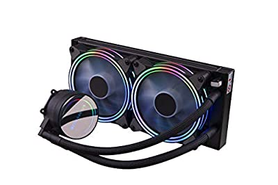 GOLDEN FIELD ICY Chill Series Advanced RGB Lighting Liquid CPU Cooler with Dual 120mm Adjustable RGB PWM Fan & 240mm Radiator Water Cooling Cooler System for AMD Intel CPU Water Cooler