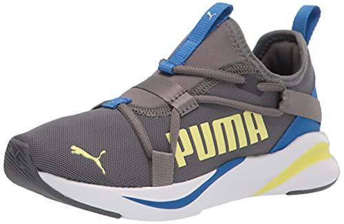 PUMA Softride Rift Color Pop Slip On Sneaker, Castlerock Royal-Soft Fluo Yellow White, 6 US Unisex Big Kid