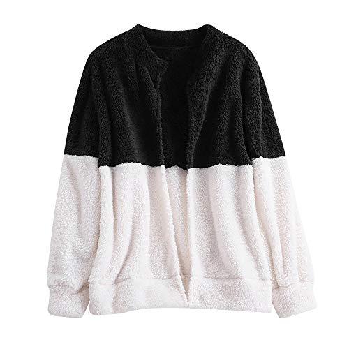 Sweater Langarm Patchwork Fleecejacke MYMYG Damen Fleecejacke Teddy Jacke Strick Cardigan Kuschelig Fleecejacke (A2-Schwarz,EU:40/CN-L)