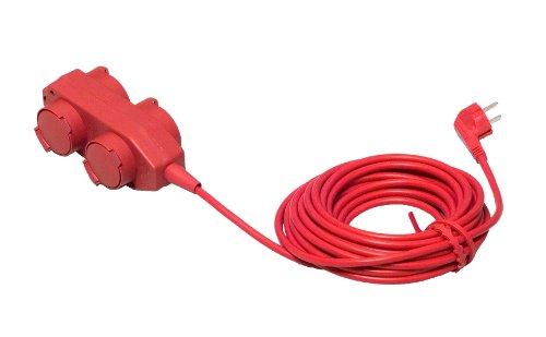 Unitec 44550 Bloc multiprise avec 4 prises, câble H05VV-F 3G1,5 mm² et protection IP40 Rouge 10 m