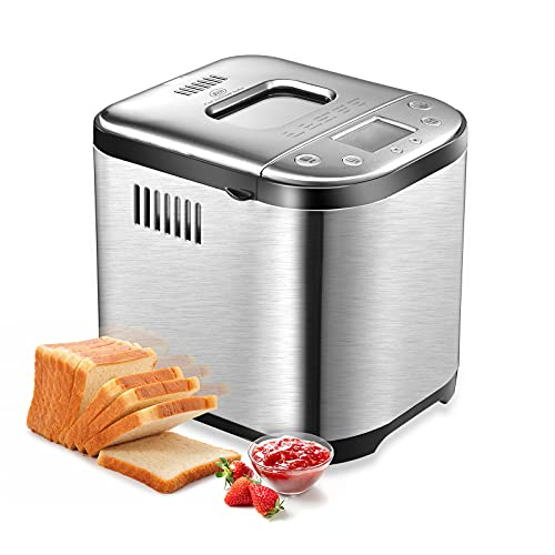 Bread Machine - CSS Stainless Steel Bread Maker, 2LB, 15in1 Programmable Bread Maker with LCD Screen, 1 Hour Keep Warm, Clear Recipes, Nonstick Ceramic, Memory Function, 3 Loaf Sizes for Home Bakery