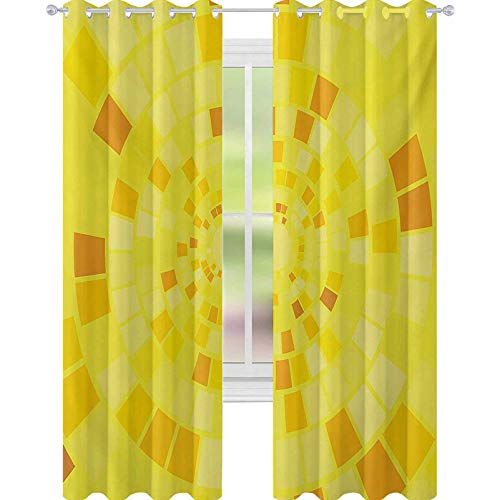 YUAZHOQI Yellow Thermal Insulated Blackout Curtain Hypnotic Mosaic Shaded Circular Motifs Bursting with Curvy Modern Lines Art Print 52' x 95' Drape for Glass Door Orange Yellow