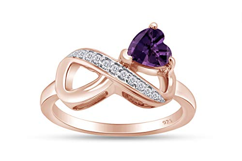 AFFY Heart Simulated Amethyst & White Natural Diamond Accents Infinity Heart Promise Engagement Ring 14k Rose Gold Over Sterling Silver for Women Ring Size-9 -  MNo-CSR-211220195-RG-AMT-9