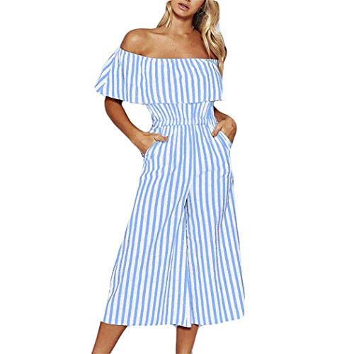 Read About Trendy Women Sleeveless Striped Jumpsuit Loose Trousers Wide Leg Pants Rompers Holiday Le...