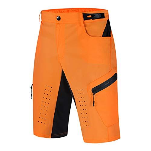 Pantalones Cortos de Ciclismo para Hombre,3D Transpirables Impermeables de Secado Rápido con Recorte Pantalones Cortos de Bicicleta MTB Holgados y Suaves y Ligeros(Size:M,Color:Naranja)