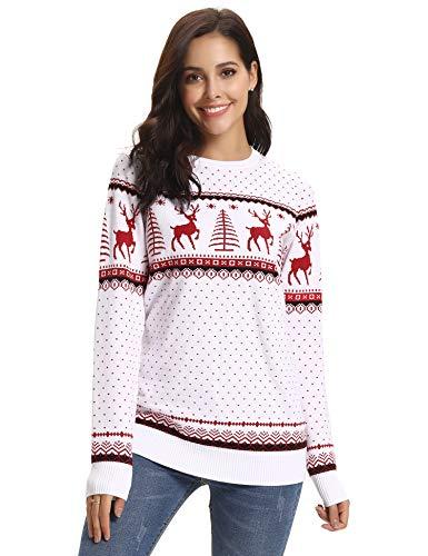 Abollria Suéteres Navideños Jersey de Navidad Pullover de Punto para Familia Mujer Hombre Nina Niño