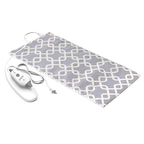 "Pure Enrichment PureRelief Express Designer Series Electric Heating Pad - Fast-Heating with 4 Heat Settings, Machine-Washable Fabric and 2-Hour Auto Safety Shut-Off - Gray Trellis (12"" x 24"")"