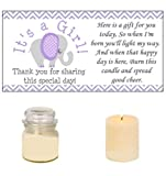 Purple & Grey Elephant Baby Shower Candle Party Favor Labels It's a Girl! (42)