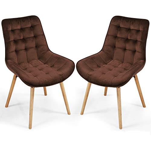 MIADOMODO® Esszimmerstühle - Farbwahl, 2/4/6/8 Set, Sitzfläche aus Samt, gepolstert, gesteppt,...