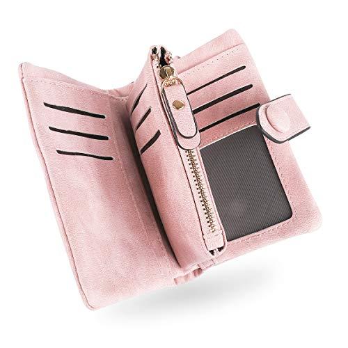 Conisy Portafoglio Donne di Blocco RFID in Cuoio Morbido, Elegante Compatto Portatile Corto Borsellino per Signore (Rosa)