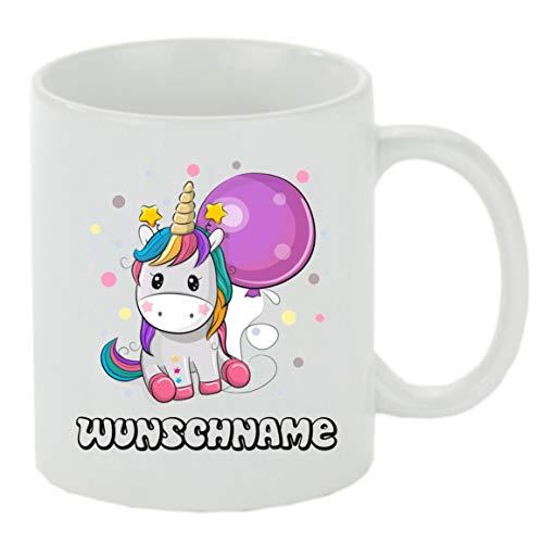 Crealuxe Kaffeebecher Einhorn Wunschname Kaffeetasse mit Motiv, Bedruckte Tasse mit Sprüchen oder Bildern - auch individuelle Gestaltung