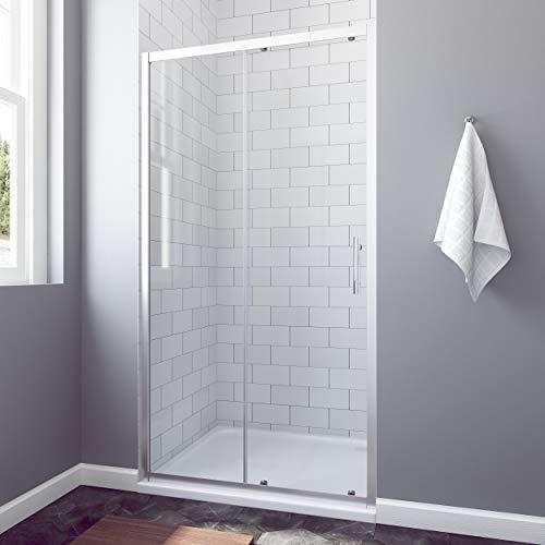 AQUABATOS® 120 x 185 cm Nischenschiebetür Duschabtrennung Duschtür Nischentür Schiebetür Duschwand Glas Dusche ESG