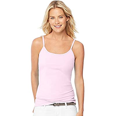 Hanes Women's Stretch Cotton Cami with Built-In Shelf Bra_Paleo Pink_L from