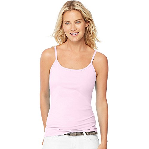 Hanes Women's Stretch Cotton Cami With Built-In Shelf Bra_Paleo Pink_L