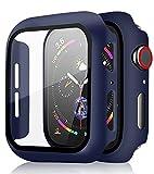 [2 Pezzi] Pocoukate Cover con Vetro Temperato adatto per Apple Watch 44mm Serie SE/6/5/4 Rigida PC Cassa Dell'orologio con Pellicola, HD+Bubble-Free Copertura Completa Schermo Protezione