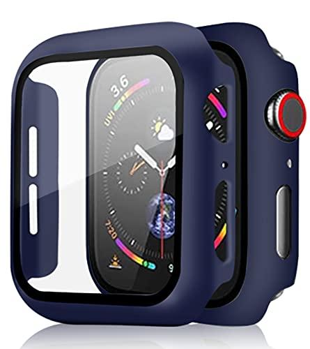 [2 Pezzi] Pocoukate Cover con Vetro Temperato adatto per Apple Watch 42mm Serie 3/2/1 Rigida PC Cassa Dell'orologio con Pellicola, HD+Bubble-Free Copertura Completa Schermo Protezione