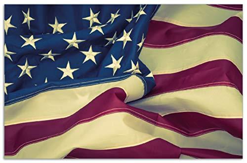 Wallario Herdabdeckplatte/Spritzschutz aus Glas, 1-teilig, 80x52cm, für Ceran- und Induktionsherde, Motiv Amerikanische Flagge im Wind