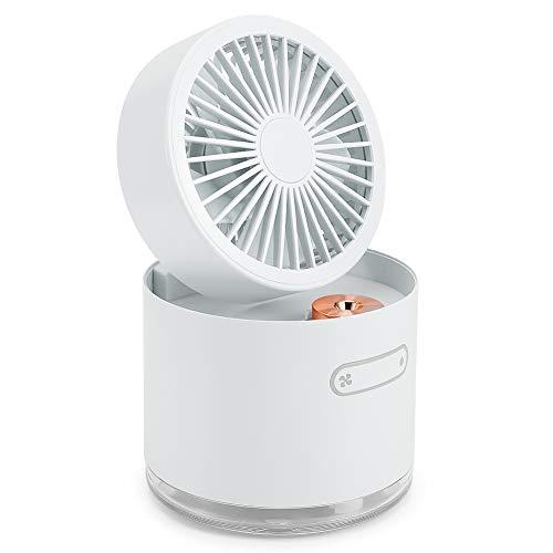 Evonecy Ventilador de pulverización, silencioso 2 en 1 Ventilador de refrigeración por pulverización Mini Ventilador, Carga USB(White)