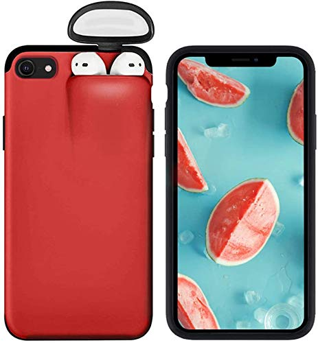 2 in 1 Wireless Headset Set Protection Phone Case for iPhone XR and AirPods - iPhone XR Liquid Silicone Case Red, Hard Rubber Gel Ultra Thin Slim Fit Anti Slip Protective Shockproof Cover