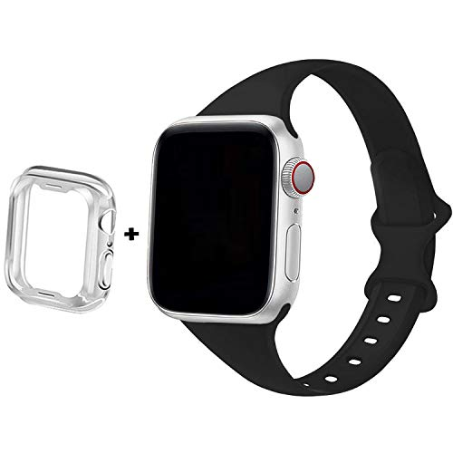 Anzhee Slim Sport Silicone Band Compatible for Apple Watch Band 38mm 42mm 40mm 44mm, Narrow Thin Soft Silicone Replacement Strap Compatible for iWatch SE Series 6 5 4 3 2 1 SE Sport Edition Women Men
