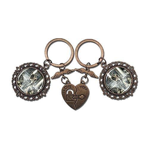 Hqiyaols Keychain BRITISCHER Neptun-Brunnen Cheltenham Englands Paar Schlüsselbund Valentinstag Geschenk Schlüsselanhänger Souvenir Kristall Metall 2 teile/satz