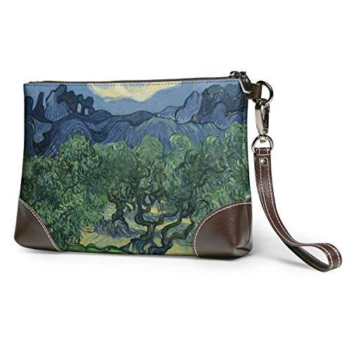 BFDX Geldbörsen Clutch Phone Wallets Olivenbäume Leder Small Wristlet Geldbörsen Handtasche