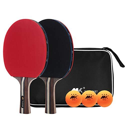 X-xyA Bats de Tenis de Mesa de 5 Estrellas Profesional con 3 Bolas y Raqueta de Ping Pong