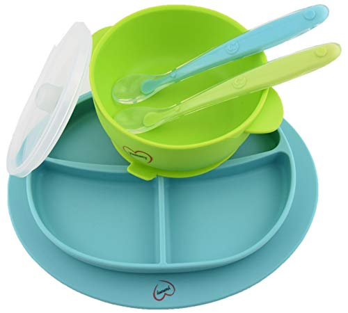 Yummy Baby Silicone Suction Divided Plate, Bowl with Lid & Matching Spoon Set - Stay Put Weaning Bowl & Plate for Toddler - Non Slip Silicone Baby Feeding Set BPA Free (New Blue and Green)