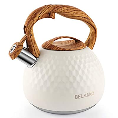 Tea Kettle, 2.7 Quart BELANKO Teapot Whistling Kettle with Wood Pattern Handle Loud Whistle, Food Grade Stainless Steel Tea Pot for Stovetops Induction Diamond Design Water Kettle - Milk White