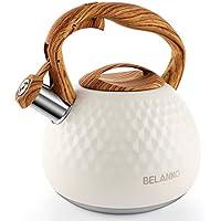 BELANKO 2.7 Quart / 3 Liter Stainless Steel Tea Kettle with Wood Pattern Handle (Milk White)