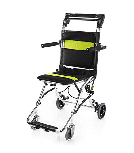 Z-SEAT Transport Wheelchair, Lightweight Portable Folding Wheelchair Boarding Trip With The Handbrake, With Elderly Care Trolley Bag