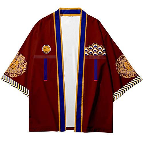RAXYQ Uomo Kimono Cardigan, Kimono da Uomo Giapponese Kimono Stampato Cardigan Giacche Cappotti Capispalla Yukata Leggero,4XL
