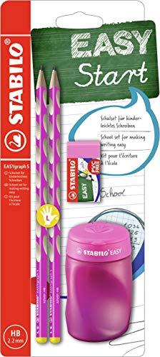 Set escolar para zurdos STABILO EASYgraph S - Con sacapuntas y goma de borrar. Color rosa, B-56677-3