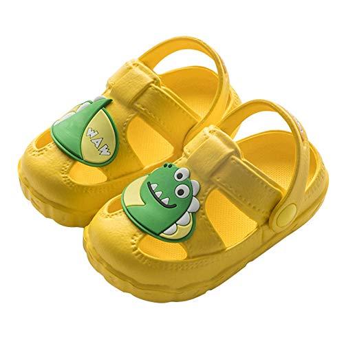 OUGEA Zapatillas para niños de verano antideslizante suave inferior interior dibujos animados niños niños y niñas agujero de bebé hoyo-amarillo_180 (adecuado para pies 16.5cm