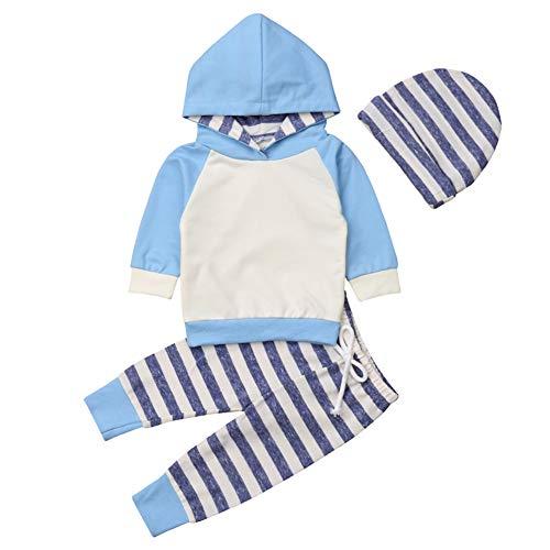 Geagodelia T-33958 - Conjunto de ropa para bebé y niña de manga larga con capucha y pantalón para recién nacidos Azul y rayas 574. 12-18 Meses