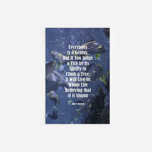 Albert Einstein Quote Poster - Everybody is a Genius (2) - Print Photo Wall Decor Modern Art Chic - Fish Ocean // Size: 9 x 6 Inches