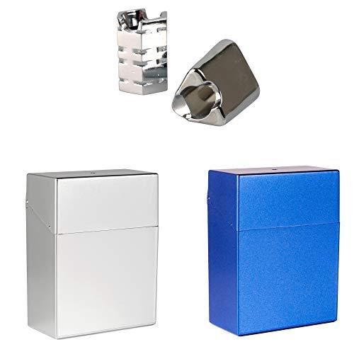 LK-Trend Zigarettenetuis 2 x Zigarettenbox XL 25 in metallic Blau und Silber + 2 Glutkiller Chrom