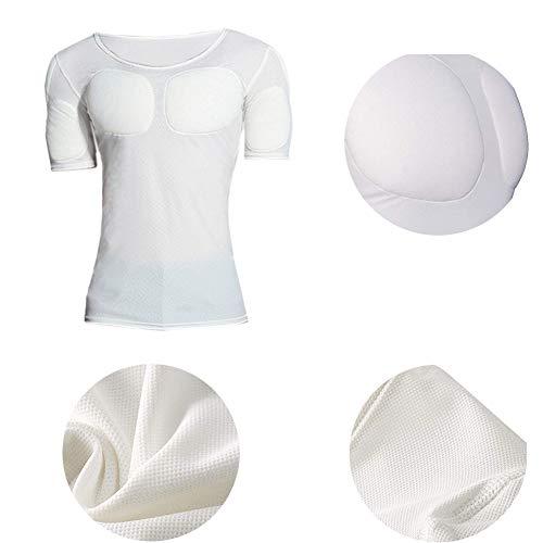 FR&RF Simulation de T-Shirt Invisible de Faux Muscle pour Hommes, Faux sous-vêtements de Poitrine - Blanc,S